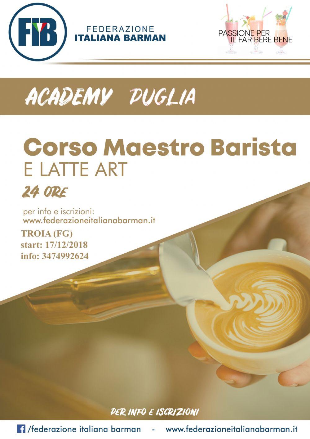 Corso mastro barista e latte art FOGGIA 17/12
